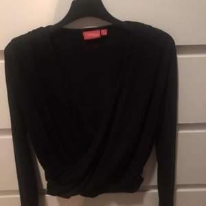 Säljer denna svarta tröjan med en ganska djup urringning på framsidan, storleken är 146/152 men den passar någon med storlek XS-S ungefär 😊 50 kr+ frakt
