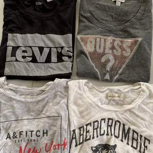 Fyra T-shirtar från olika märken. Säljer separat men paketpris om man knorr flera. Leviströjan är strl M, den grå A&F tröjan strl S, de andra två i strl XS.💞🌸✨ 50 kr/ styck men 80 för två✨❤️