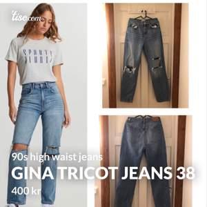 Säljer nu mina jeans från Gina Tricot i stl 38 för 400 kr (nypris 599kr) endast använda en gång då de är förstora och inte riktigt min stil längre😕
