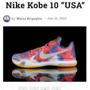 Säljer ett par Nike x Kobe 10 USA independence day skor. Storlek 38. Bra skick. Svåra att få tag på men används aldrig! Hör av er vid fler frågor eller för fler bilder❣️