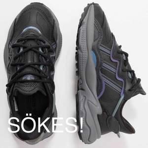 Adidas ozweego sökes i denna färgställning, mörkgrå med metallicdetaljer i storlek 38. Hit me up!