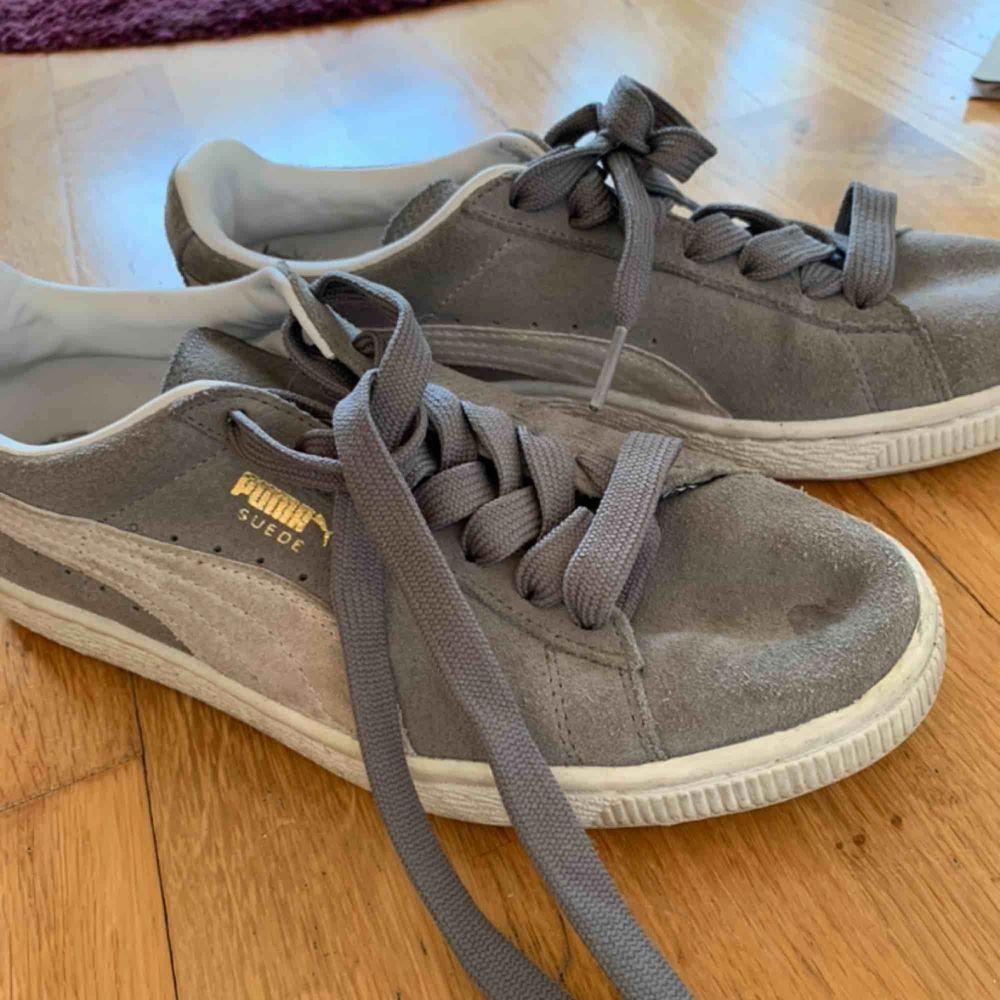 Säljer dessa Puma sneakers i strl 38 Färgen är grå och så är det beiga ränder Köparen står för frakt, frakt kostar 79 kr. Skor.