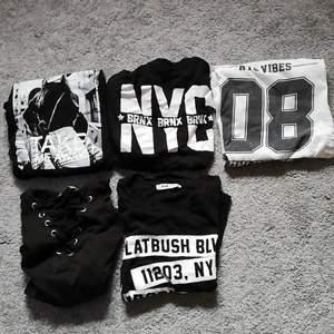Säljer 5 olika t-shirts från New Yorker. Skriv privat för mer info! Storleken är xs men passar också s! . Byten går bra! 30 kr/st - kan möjligen diskuteras! Frakt tillkommer. Den högst upp till vänster är såld!