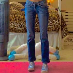 Jättefina low rise jeans som är indie aesthetic. De är i mörkblått och är också skiny jeans