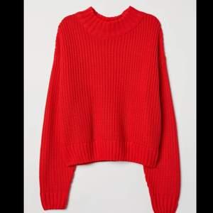 Slutsåld röd stickad tröja från hm. Storlek S. 70kr frakten är inräknad i priset❤️