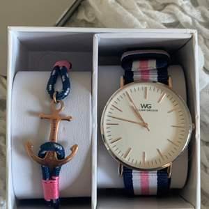 Fin klocka och armband, nästan helt oanvända från William Gregor. Kommer även i förpackningen på bilder🥰 köparen står för frakten och bara skicka om du vill ha fler bilder!