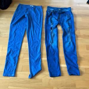 ett par blåa tights och ett par jeans tights