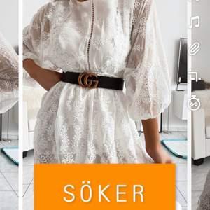 """Söker denna fina klänning från DM maglic! Klänningen heter """"Praire"""". Är ute efter storlek M, men om klänningen är lite större av sig fungerar S 💕🥂"""