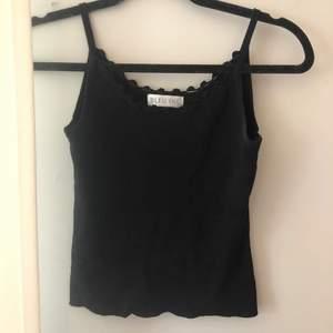 Säljer mitt jättesöta svarta linne. Det är ett enkelt men snyggt svart linne från ett märke jag inte riktigt känner igen. Den är använd men ändå i ett bra skick. Super söt till sommaren!!💞❤️