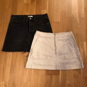 Två jeanskjolar. 70kr st eller 100kr för båda.                                Svarta är från Gina Tricot och den ljusa från Weekday, båda är storlek 38.