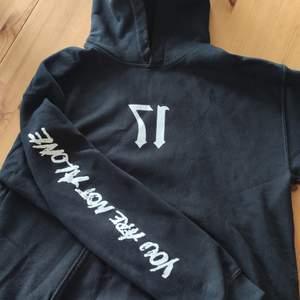 Helt felfri hoodie i storlek M (true fit) med design på fram och baksida samt högra ärmen. Har använts men har som sagt inga skador eller något liknande.  Kan hämtas i Kungsbacka, Göteborg eller skickas med post, köpare står för frakt.