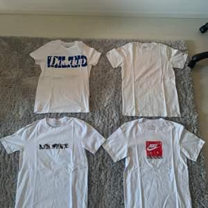 Dondup Tshirt stl xs 300kr (nypris 800kr)                      Les deux Tshirt stl s 200kr ( nypris 500kr).                    Nike air Tshirt stl s 100kr (nypris 350kr).                       Carhartt Tshirt stl xs 150kr (nypris 500kr)
