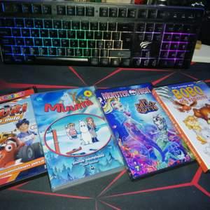 DVD'n som är i fint skick och alla innehåller svensk tal✨ Kan användas som tex dekoration ✨styck priser: Lauri, Monster High & BOBO - 40sek, muumin - 60sek✨ Allt: 140 +frakt i alla priser.