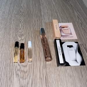Säljer 6 stycken mini parfymer som är perfekta för att ha i väskan eller för att testa innan man köper. De är tester på Rihannas, Chloe, womens secret och narciso rodriguez parfymer. Även en halv Gina tricot parfym. 💞