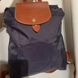 Äkta Longchamp ryggsäck blå nylon