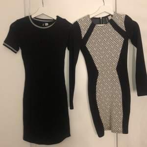 Två klänningar från HM i storlek 32 (xs)! Sitter väldigt bra och är lagom längd. 50kr st, 100kr för båda