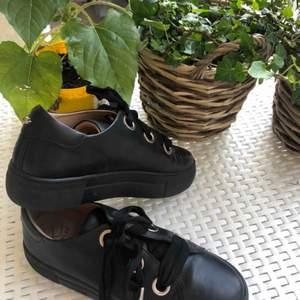 Helsvarta, oanvända skor i storlek 37 dammodell. Går att använda sommar, vår och höst. Skorna kommer från Kcobler och kostade 1000 kr original pris. Köparen står för frakten. ❤️