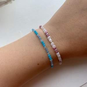 Säljer hemgjord armband i olika färger! Skriv bara vilka färger du vill ha och längden runt din handled:) frakten kostar 11kr. 15kr st