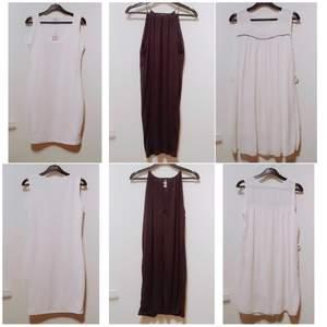 OBS, säljs som paket, alla 3 för 100 kr. 3 fina klänningar, 2 helt oanvända, den andra vita använd 1 gång. Den saknar en kedja/bälte i midjan som enkelt kan ersättas