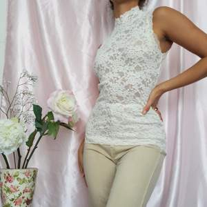 🌼 BEAUTIFUL WHITE TURTLENECK TOP WITH BUTTON AT NECK, MADE OF STRETCHY LACE. FROM DANISH ROSEMUNDE.  ▪Size EU 34/XS ▪Condition 10/10  🌻My measurements ▪Height 161cm / 5'3