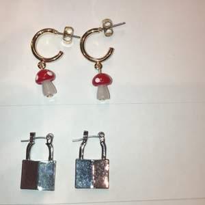 Aldrig använda jätte fina örhängen! Svampörhängena kommer ifrån Monki och lpsörhängena ifrån ur&penn!                                         1 par örhängen: 30kr + frakt                                                2 par örhängen: 50kr + frakt                                            Frakt = 24kr 💕🍄🔒