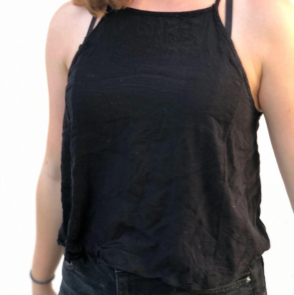 Ganska tunnt luftigt svart linne som är jätteskönt att ha en varm sommardag;) använt endast några få gånger och säljer då jag inte använt det mycket☀️. Toppar.