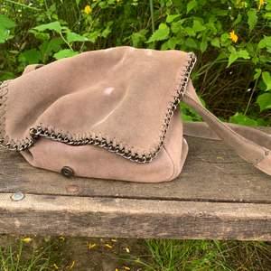Supersnygg väska i grå mocka från Wera! Är helt säker på att den dessutom bara kommer att bli snyggare ju mer man använder den och ger den lite patina :) jag har verkligen gillat den men bytt lite stil nu, så den söker nytt hem!