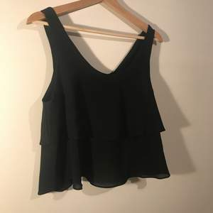 Black crop top ruffled blouse. The back of the blouse is really pretty. The tag says M but since it's a crop top it fits like a normal blouse as I wear a small.