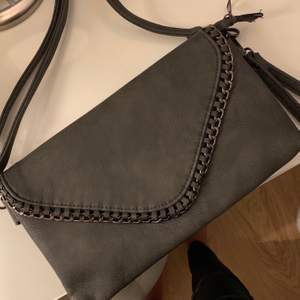 Säljer denna gråa väskan som är helt oanvänd. Den har en ficka på baksidan och ett axelband där du kan själv välja hur långt det ska vara. Säljs för 80 kr. Köparen står för frakten!