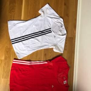 Adidas T-shirts inköpta från Adidasbutiken i Sthlm. Oanvända. Storlek 38. Passar 36-38. Har även en lila med rosa sträck som kan fotas vid intresse. 100 kr st eller två för 150:-