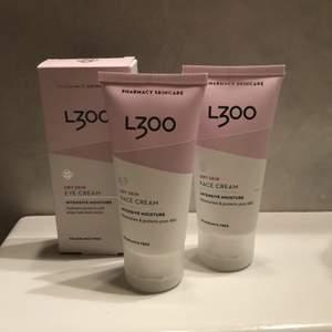 Nya produkter från L300. Två dry skin face cream intense moisture och en dry skin eye cream intense moisture. Ny, obrutna förpackningar. Nypris ca 160kr.