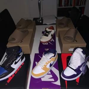 Air Jordan 1 Court Purple us 8 - 2900kr :  Air Jordan 1 Royal Toe us 9 - 2800kr : Nike Dunk Lazer Orange us 8,5 - 2100kr : Nike Dunk Hennessy us 7,5 - 1500kr : Yeezy Slides us 9, 10 - 1800kr styck :: Jordans bör man gå ned en storlek i. Priserna förhandl