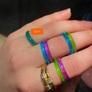 Klara plast ringar i färgerna💜💚💙. Mått i diameter: 1,8cm —- * en för 9kr, 2 för 15kr, 3 för 23kr  ——  lila  (SLUT) - blåa (5/6 kvar) - gröna. Jag kan göra örhängen av dem, (annons finns på min sida)