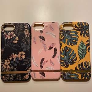 Tre skal från Richmond and Finch som passar iPhone 6/6s/7/8. Det blåa och rosa är lite slitet i några av hörnen (se bild). På det rosa och gula är kanten lite missfärgad av byxor. I övrigt fint skick. Alla tre för 250kr eller 100kr/st. Köparen står för ev. frakt🌟
