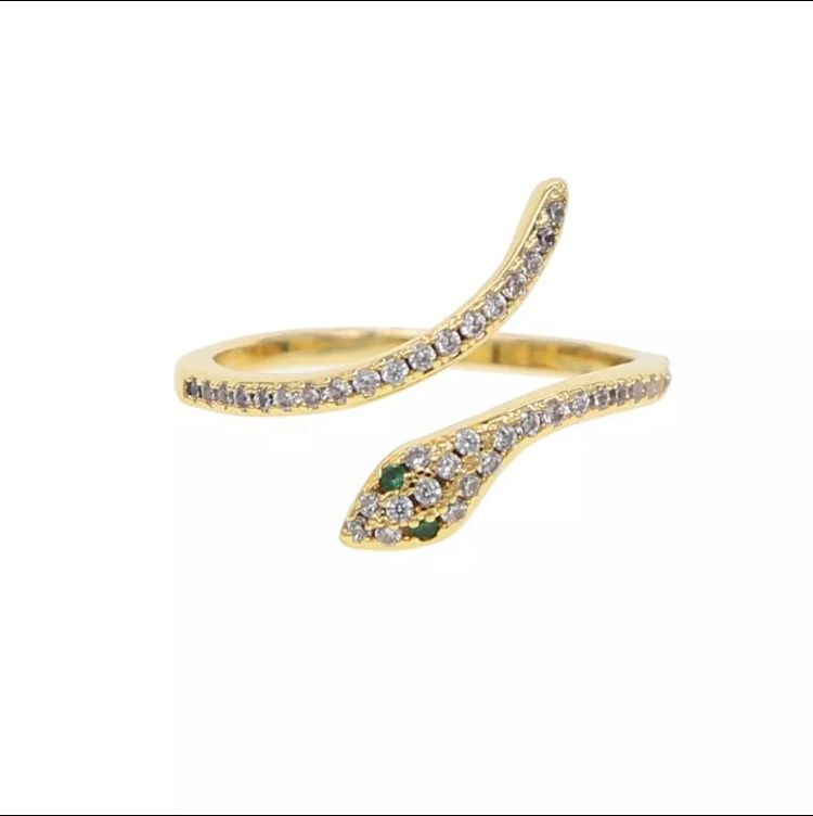 acero inoxidable joyeria mujer  stackable rings snake rings for women Gold Color clear CZ  Punk Rock Ring Animal Jewelry. Accessoarer.