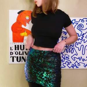 Skitcool kjol med vändbara paljetter som lyser upp tillvaron! Den är verkligen jättefin, men inte alls min stil- därför säljer jag den i nyskick.  Paljetterna skimrar i grönt och blått på ena sidan och i svart på andra, det blir en riktigt cool effekt.                       Köparen står för frakt, eller så möts vi upp i Stockholm🌸