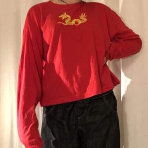 En röd långärmad med en drake på väldigt cool. Nästan oanvänd.