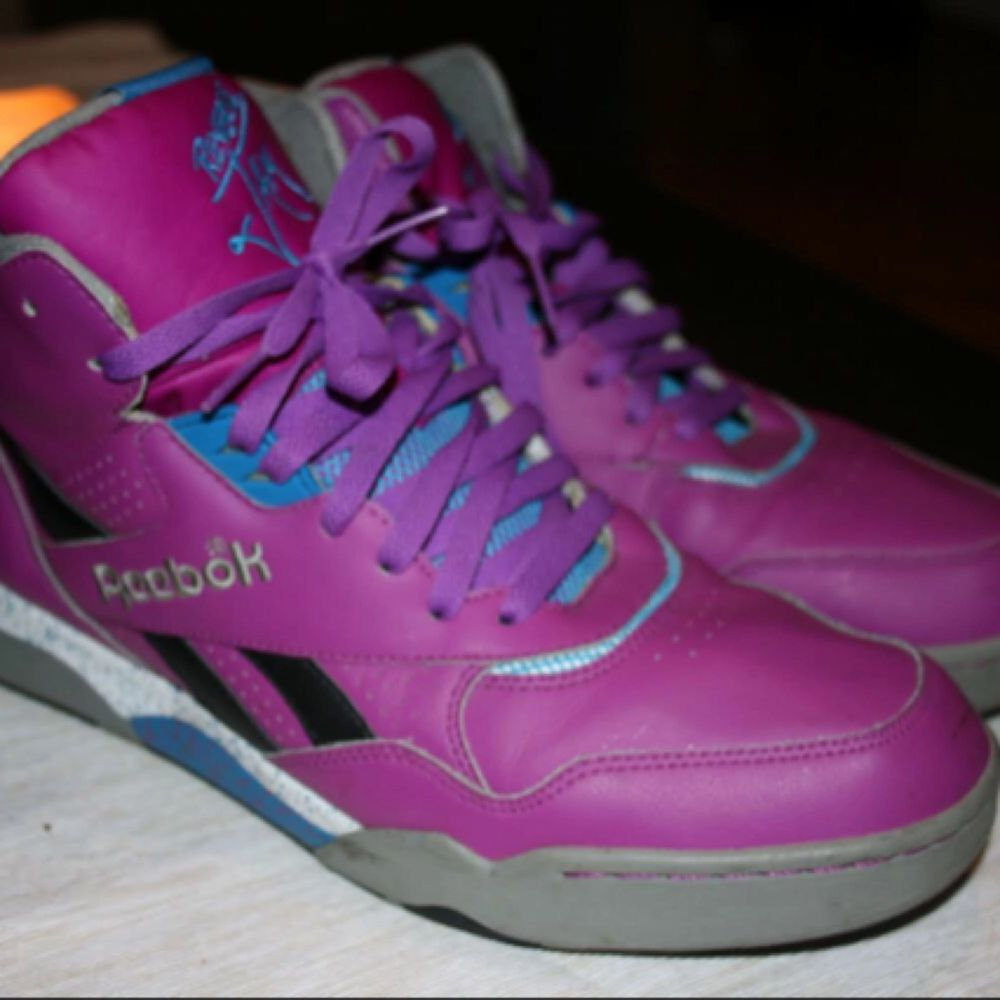 Vintage Reebok Reverse Series Jam Hexalite Sneakers High Top Purple Leather i stl 47,använda ett par gånger.. Skor.