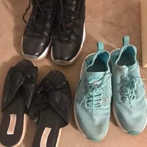 Jordan 11 storlek 38/38,5 pris 1800. Svarta sandaler finns redan i annonsen. Nike huaraches ljusblå 38/38,5 300 SÅLD🛑. Brun sandal storlek 38 80kr
