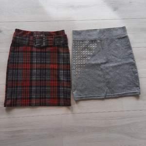Den rutiga kjolen är från gina och är i strl xs. Den gråa är från monki och är i strl S. Båda är i väldigt fint skick! Den rutiga för 40kr och den gråa 30kr eller båda för 60❤