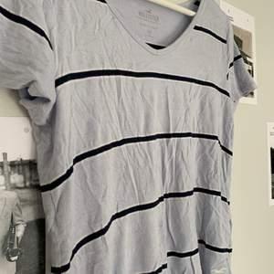 älskar älskar älskar materialet på denna t-shirt. Stretchig och luftig. Fin v-ringning och gulligare ljusblå färg irl. Knappt använd. 75kr+frakt och kan skicka postbevis!😇 Pris diskuterbart.