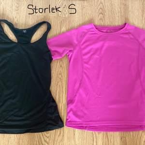Säljer två träningströjor i storlek S, mycket bra skick på den svarta och den rosa/lila är använd ett par gånger.                  Pris: 40kr för en eller 70kr för båda