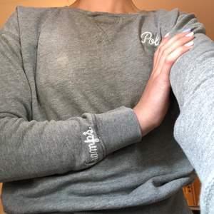 En grå Polo Ralph Lauren tröja som inte är i särskilt tjock material. Luftig och passar perfekt för kallare sommarkvällar. På bröstet står det Polo och på högra armen Champs. Inköpt på Nk för 899kr. Säljer den då den blivit för liten för mig.