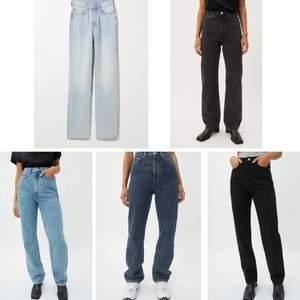 Säljer alla jeansen på första bilden!! Alla är i modellen Rowe från Weekday i storlek 25/32, köpta för 500 kr/st. Skriv för fler bilder eller intresse💞💞 (vid snabb affär 150 kr styck!)