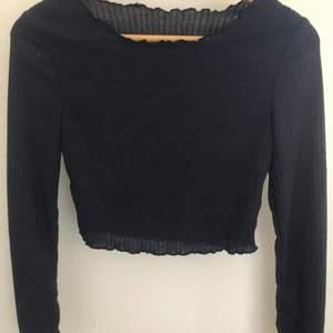 En mörkblå tröja i stretchigt material. Aldrig använd och säljer då den inte kommer till användning. Köparen står för frakten och väljer fraktalternativ.