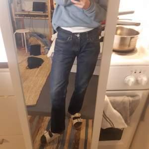 Ett par väl använda mörkblå Acnejeans med låg midja. Säljer så jag sällan använder och sitter lite skumt på mig. Jag är en 25 så skulle säga det passar xs till s pch kanske m om man vill ha dom tajt  men är ganska korta men lite långa för mig som är 165