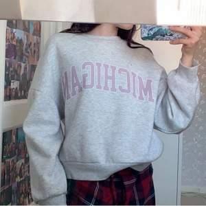 Grå sweatshirt med rosa text, jätte skön och jätte fin men kom tyvärr inte mycket till användning, bara använd typ 3/4 gånger❣️ (fläcken på första bilden är på spegeln)