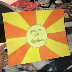 En målning inspirerad av Harry Styles låten Golden. Lite större än A4 men inte A3.