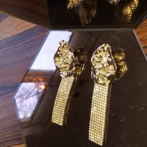 Oanvänd långa guld och glitter örhängen