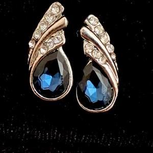 Ett par blåa örhängen, det finns ett matchande halsband som jag tänker lägga upp när jag har hittat! Passar jättefint om man matchar med sina kläder eller din sminkning.